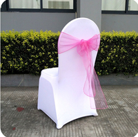 Wholesale Pink Organza Chair Sash For Weddings/ Banquet/Party