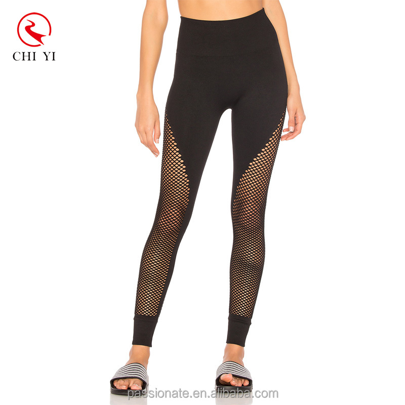 oem custom logo black mesh high waist fitness workout leggings 2017