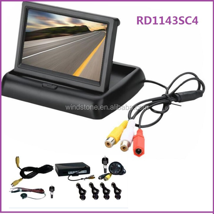 "4.3"" TFT LCD CAR FOLDABLE REARVIEW MONITOR WITH PARKING SENSOR AND CAMERA"