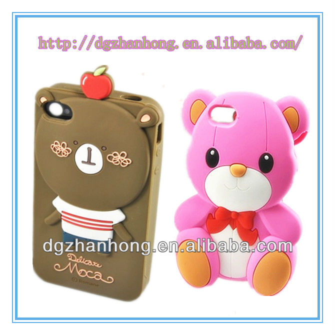 Phone protector: 3D animal shape leather phone case for iphone 5