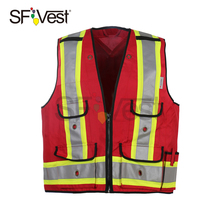 100% Polyester Canvas Surveyor Vest Hi Vis Rood 3 M reflecterende Tape Road Veiligheid Kit Werken Vest