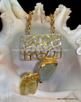 Rough Stone Vermeil Necklace, 925 Sterling Silver with Rough Gemsstone Necklace Gold Plated, Designer Necklace