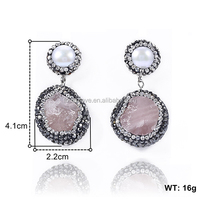 china supplier fashion jewellery pink crystal jewelry new design earrings