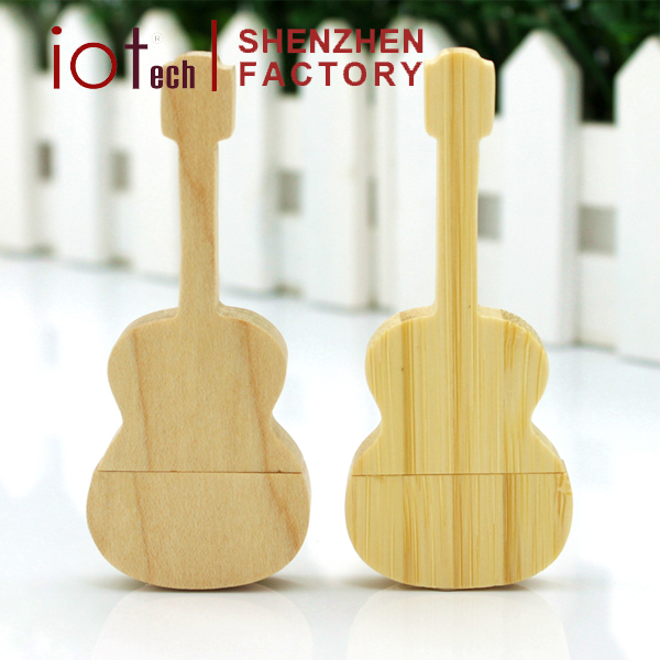 Promotional Music Gift Guitar USB Flash Drive Wooden Memory Stick with Custom Logo