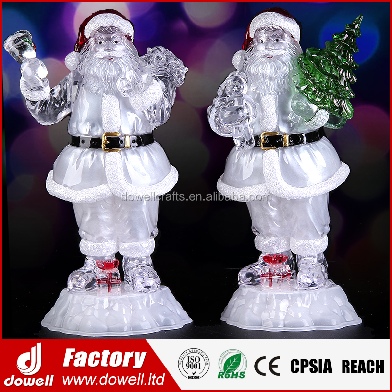 NEW Jumbo Acrylic LED Lighted Plastic Christmas Santa Claus for Home Decorations Gift