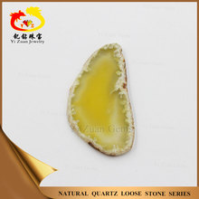 Natural raws Dyed Yellow color polished agate onyx gemstones for pendants