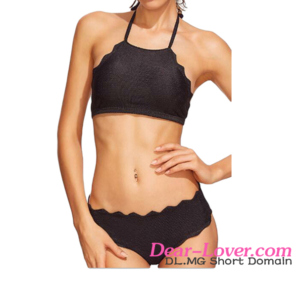 Fashion Black Scalloped Trim Halter Set Extreme Bikinis Bathing Suits