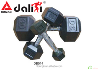 Biggest Factory Top Quality Black Rubber Coated Hex Dumbbells