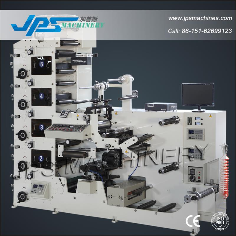JPS320-5C-B Five Colour Self-adhesive Label Paper Roll Die Cutting Slitting Flexographic Flexo Printing Machine
