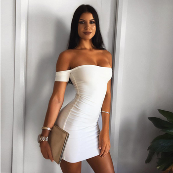 White Black Summer Dresses Women Bodycon Maxi Off Shoulder Dress For Party