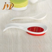 Ceramic material cooking tools spoon rest with silicone base