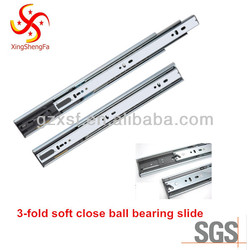 full extension soft close ball bearing drawer slide 3 fold 45mm high quality