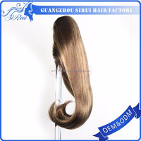 Clip on ponytail natural human hair, remy 100 human hair wrap around ponytail, straight human hair ponytail with claw clips