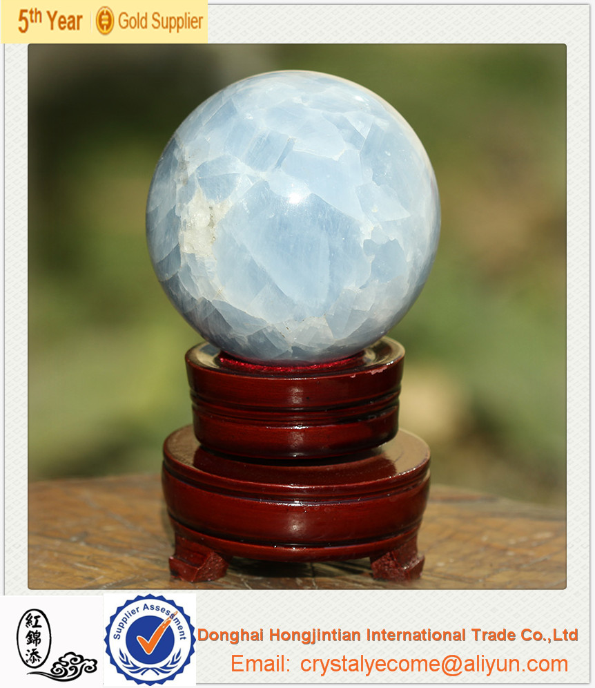 Sky Blue Calcite Crystal Sphere Carving Ball, Madagascar minermal stone