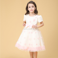 Children Round Collar Frocks Designs 100% Polyester Kids Wear Dresses Wholesale Kid's Costume for Girls of 7 Years Old