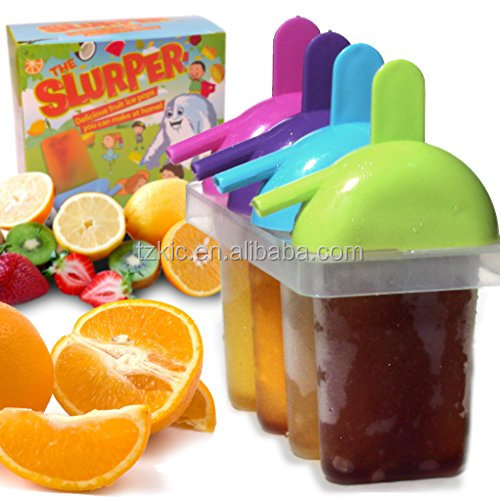The Friendly plastic Ice Pop Molds for Frozen Fruit Popsicles and Smoothies