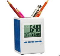 2015 new hot sale net digital calendar clock with penholder & calendar clock