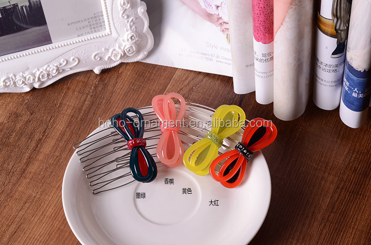 korean acrylic decorative printed christmas decorative hair accessory company side comb hair combs womens