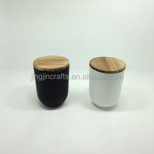 Matte black/ white glass candle holder with wooden lid/325ml glass candle jar Quality Choice