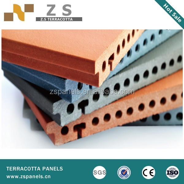 Firebrick ventilated facade terracotta wall tile, siding exterior clay cladding panels , china supplier terracotta facades tiles