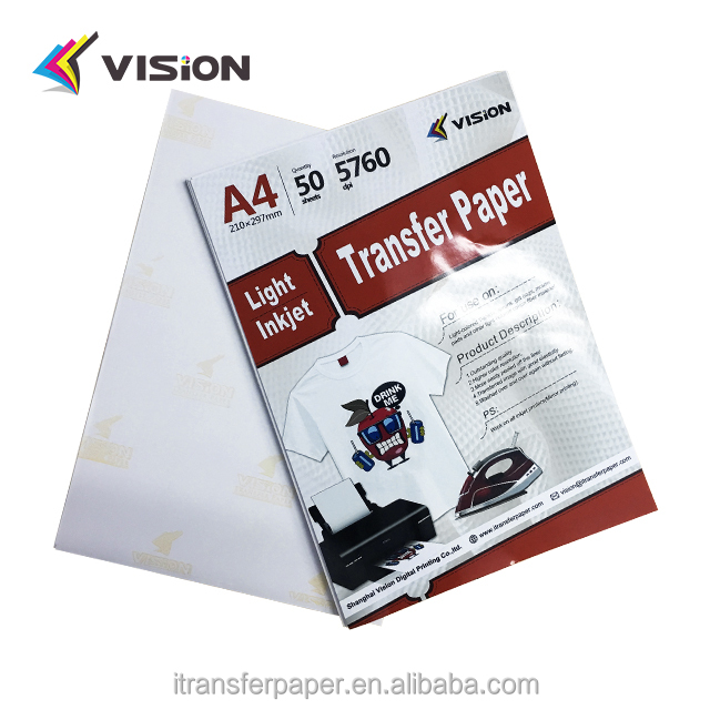 A3/A4 light inkjet heat transfer paper for transfer printing light cotton tshirt