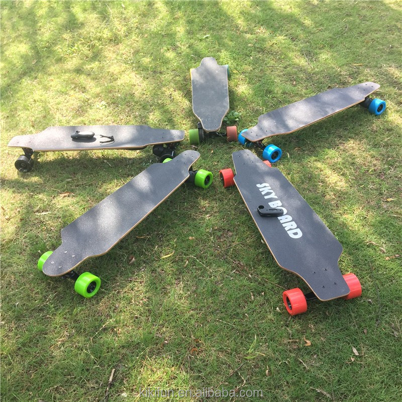 Much lighter much thinner but ultra-long 24V battery life dual hub motor board electric skateboards 800W with handles for sale