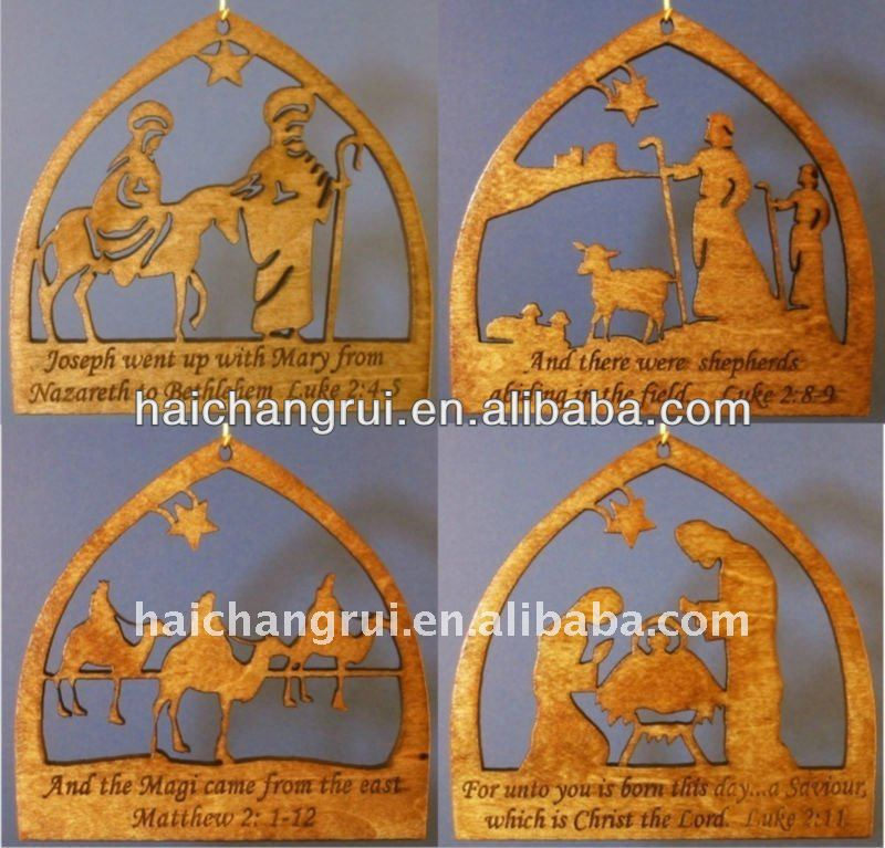 Christmas wooden nativity set- Christmas Ornament