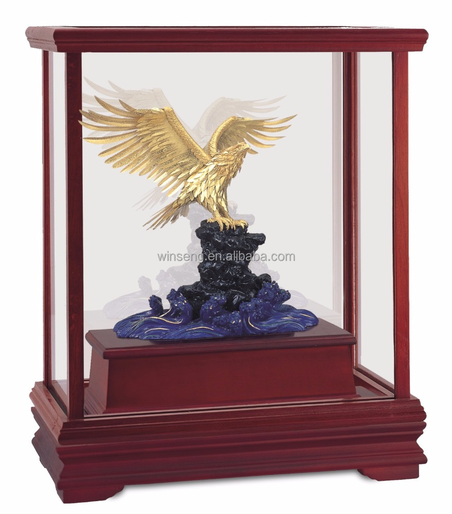 Gold foil owl statue in Display box promotion gift