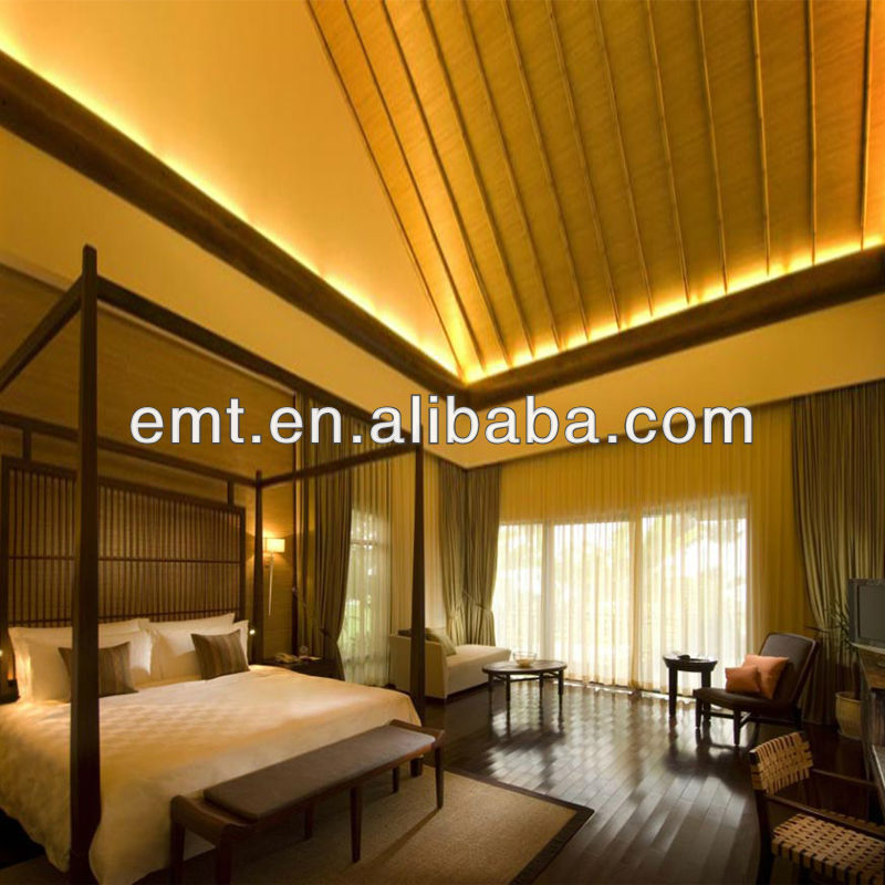Original Philippine narra wood modern design luxury hotel Narra furniture with golden light(EMT-HTB08- (10)