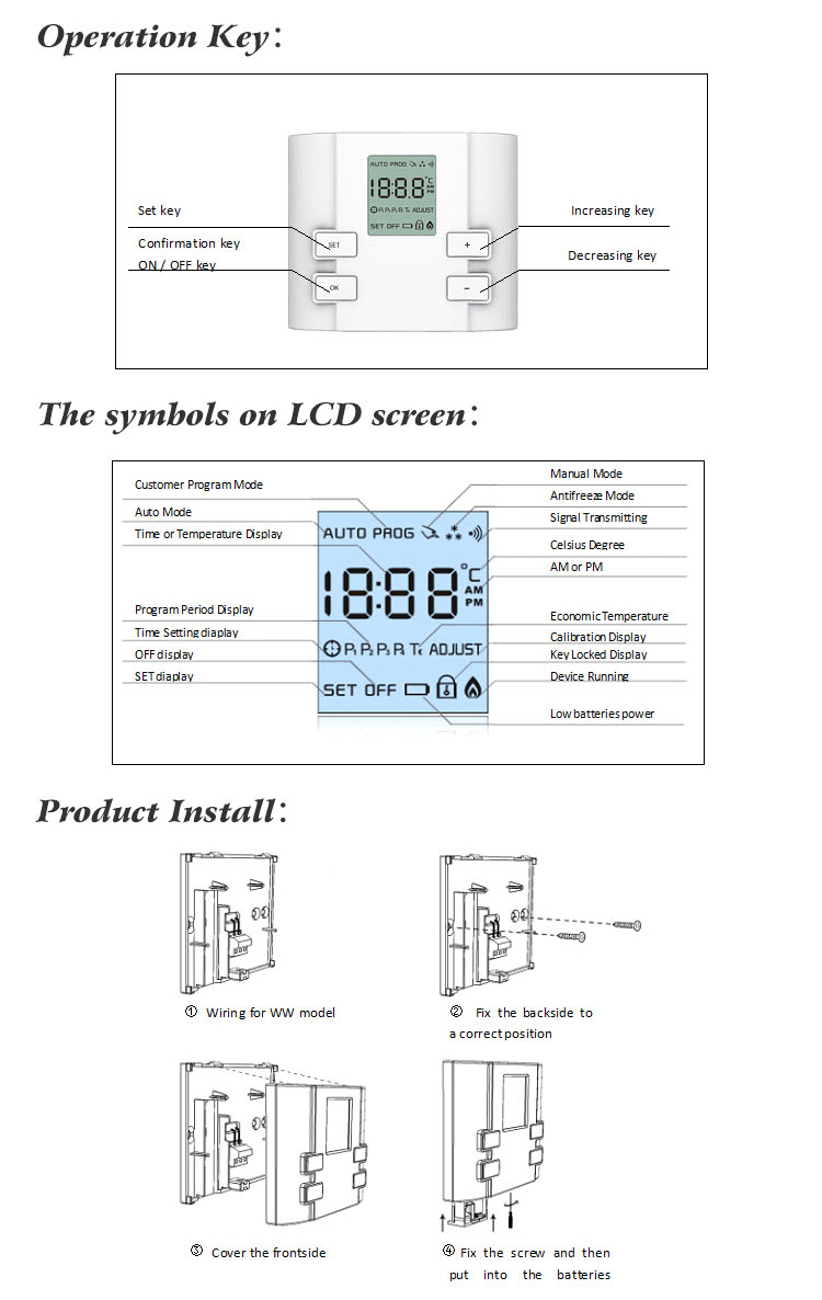 Easy Control Room Simple Adjustable Thermostat For Floor Heating