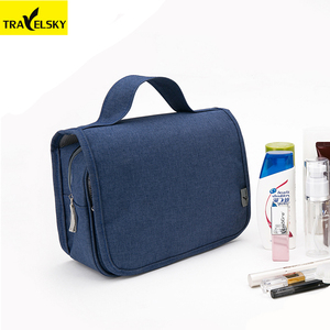 Travelsky Custom professional travel solid color water-resistant hanging cosmetic bag