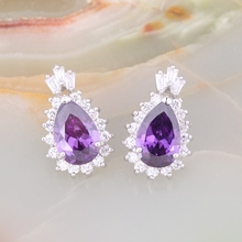 Ruby cubic zirconia stud earrings india bijouterie china supplier