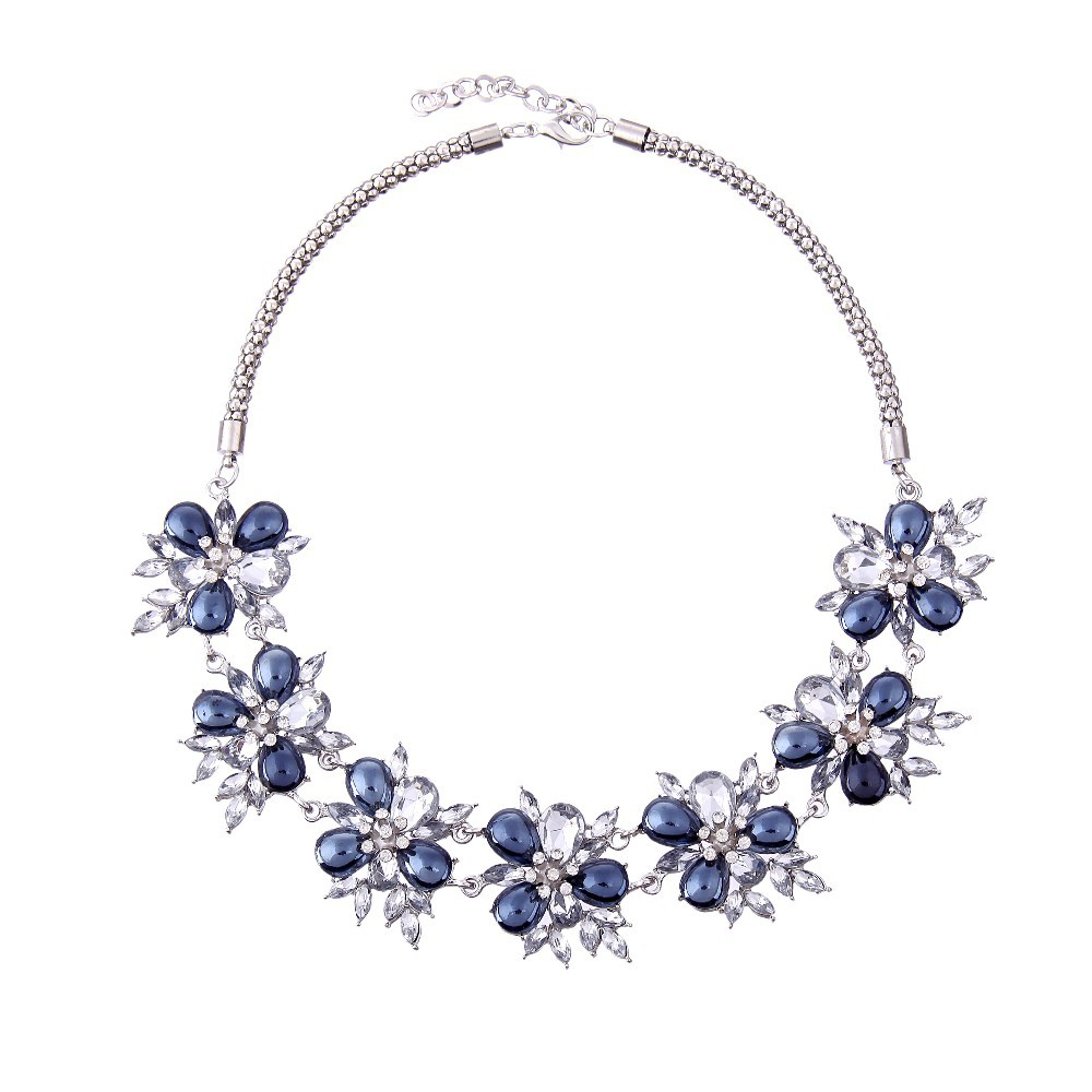 beautiful crystal flower necklace 2015 costume jewelry spain fashion jewelry for jewelry stores bangkok thailand