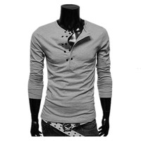 Hot sale new fashion casual men's double-breasted solid color T shirt fashion casual men's double-breasted t-shirt