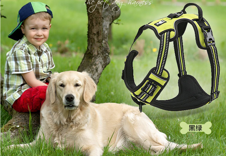 high reflective embroidery reflective mesh padded pet safety vest service dog training harness