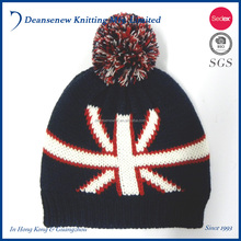 Fashion Custom Made 100% Acrylic Knitted Jacquard Pom Pom Hat