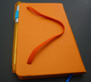 hot sale orange faux leather a6 size notebook with pen