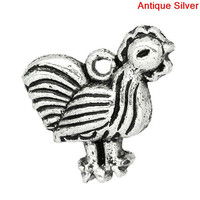 Charm Pendants Chicken/ Rooster Animal Antique Silver 15x14mm