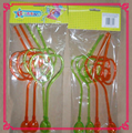 crazy plastic spiral drinking straws with spoon for holiday