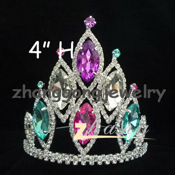 colored India pink and blue wedding and party tiara crown