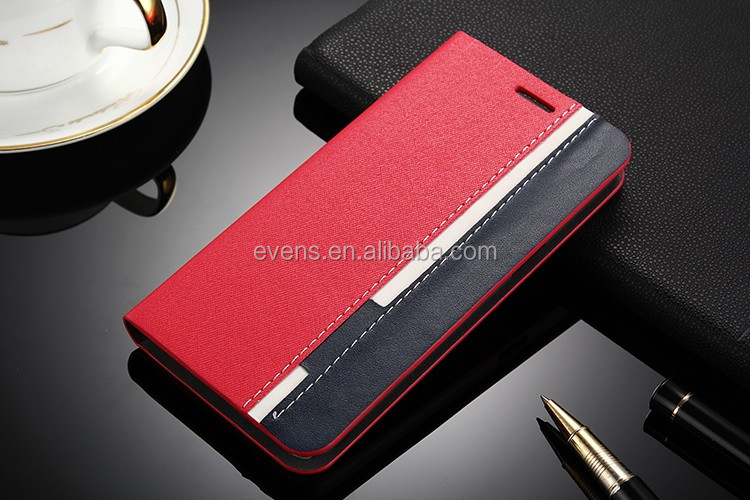 Contrast color Fashion PU Leather Wallet Flip Mobile Phone Case Cover For HTC M8 ONE2
