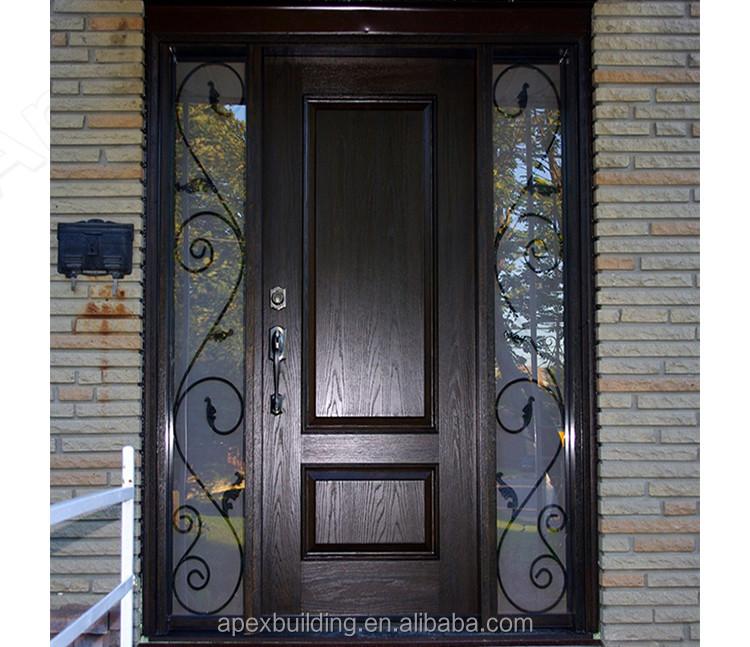 Walnut solid wood entry door wrought iron wood door buy for Wood doors with wrought iron