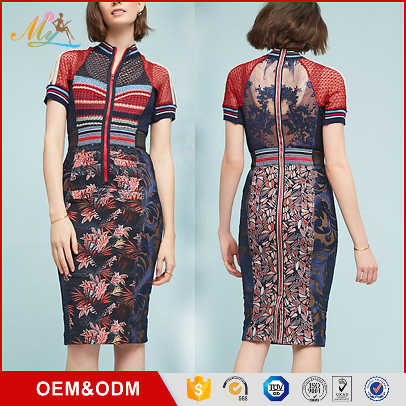 OEM ODM hot selling latest formal dress patterns knee length dress women sexy design