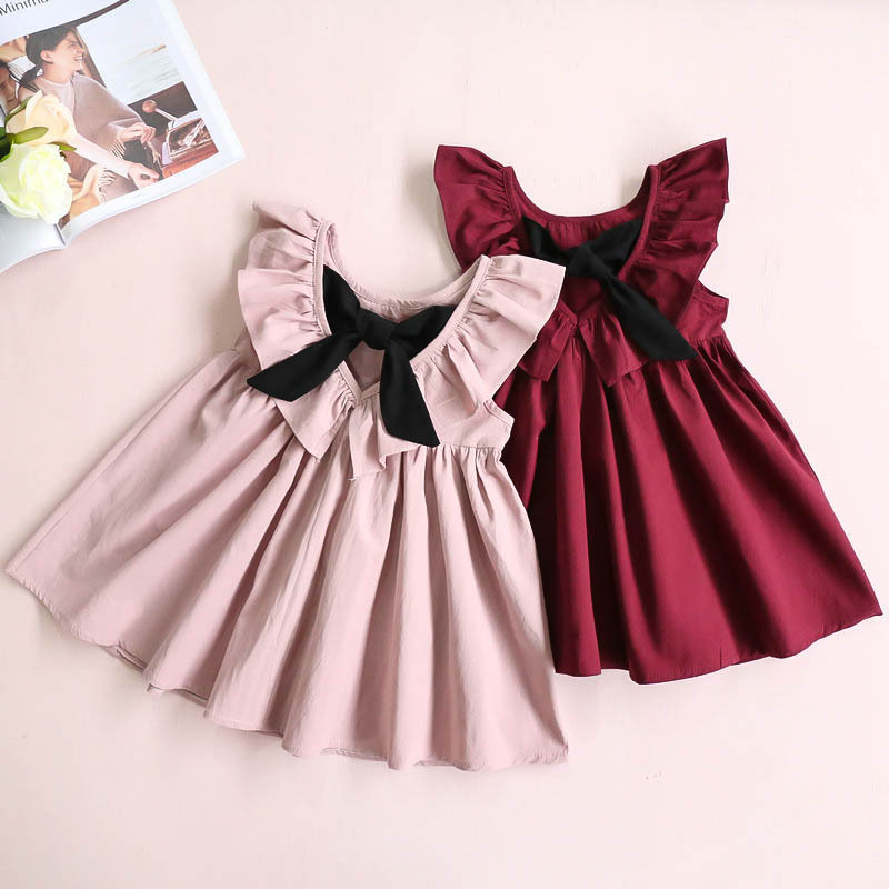 Summer Kids new baby child girl bow pleated dorsal skirt dress