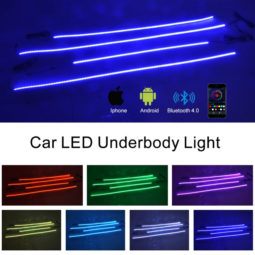 4pcs 7 Colors 12v LED RGB cellphone bluetooth Control underbody Lights for Car Decoration