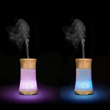 120ml Cool Mist Humidifier Ultrasonic Aroma Essential Oil Diffuser for Office Home Bedroom Living Room Study Yoga Spa Wood Grain