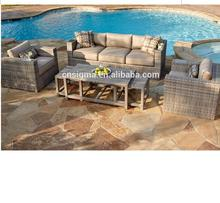 2017 Best selling resin poly rattan beach side used sala sofa set furniture