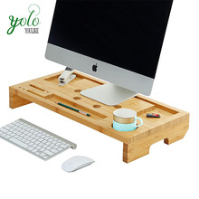 High Quality Natural <strong>Bamboo</strong> Computer Organizer Desk Wooden Laptop Monitor Riser Stand With <strong>Pen</strong> And Cup <strong>Holder</strong>