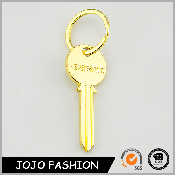 2016 promotional key shape gold plate keychains wholesale in China/ custom keychain for sale