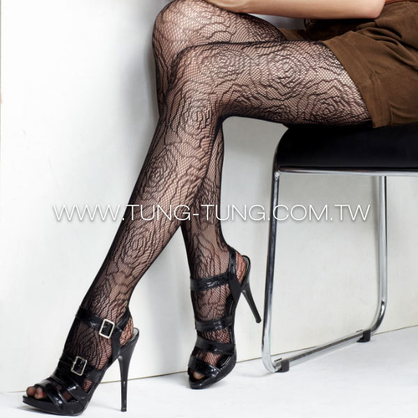 Jacquard big rose one size free size pantyhose